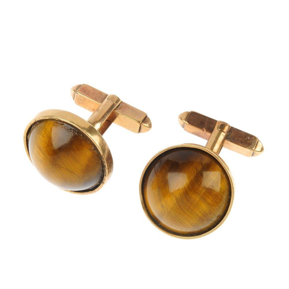 A pair of mid 20th century tiger's-eye cufflinks.