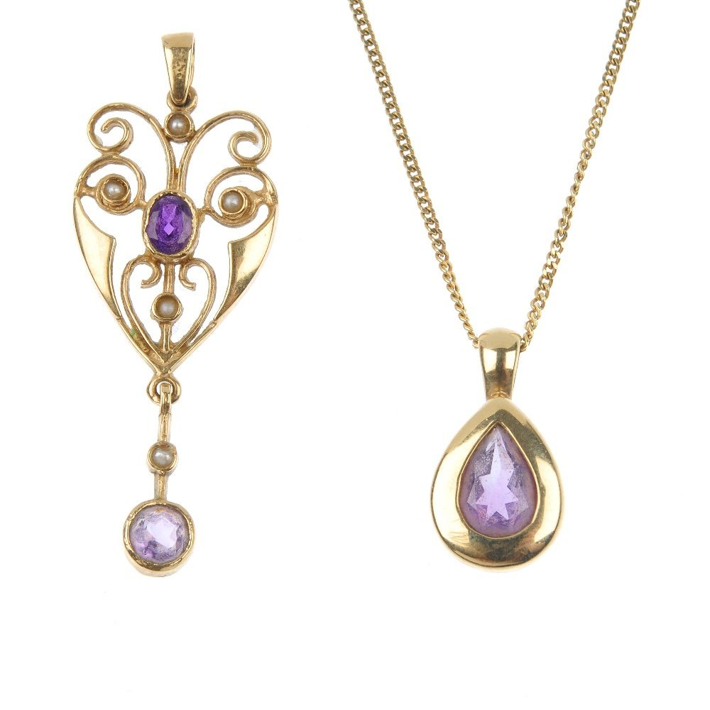 A selection of amethyst jewellery.