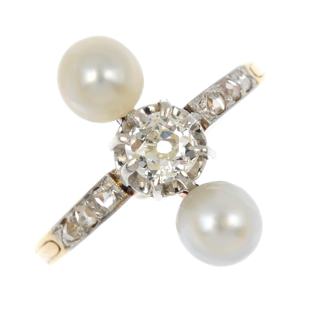 A diamond and pearl ring dress ring.