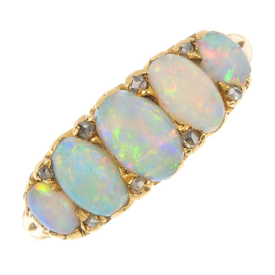 An early 20th century 18ct gold opal and diamond five-s