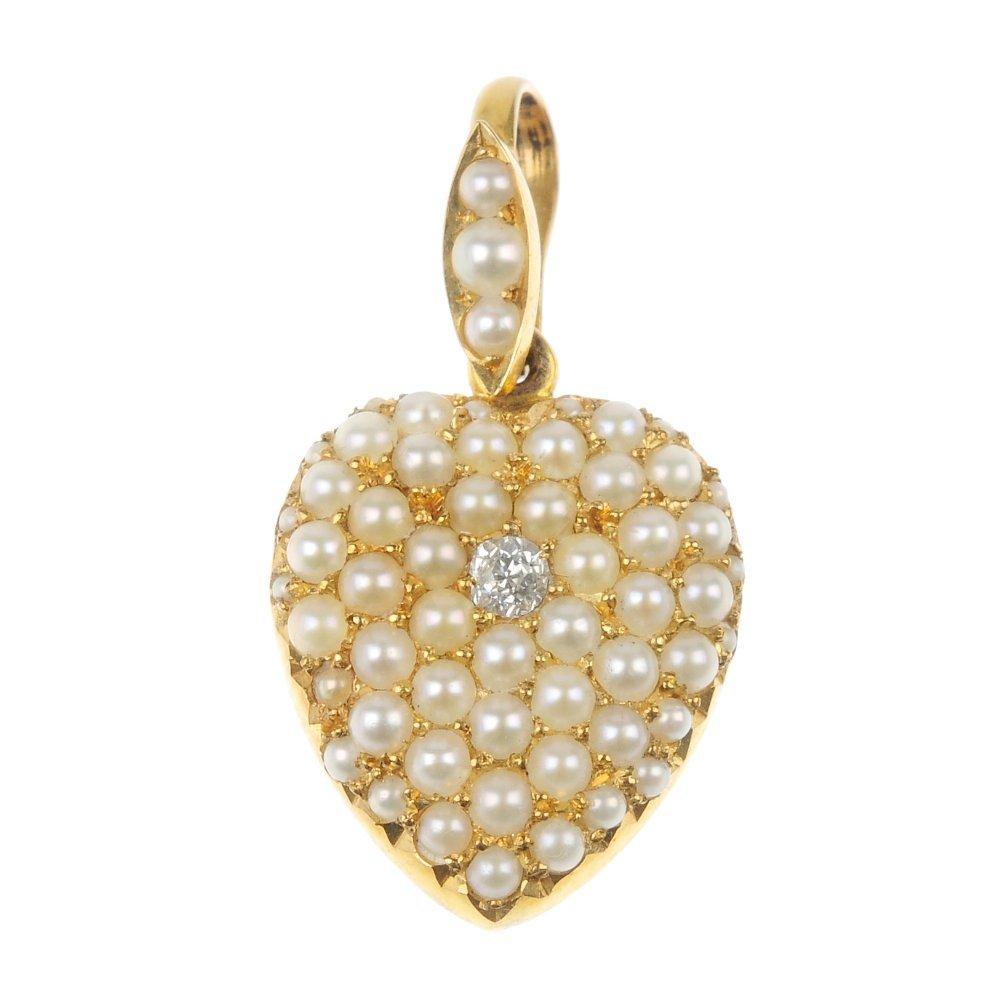 An Edwardian gold diamond and split pearl heart pendant