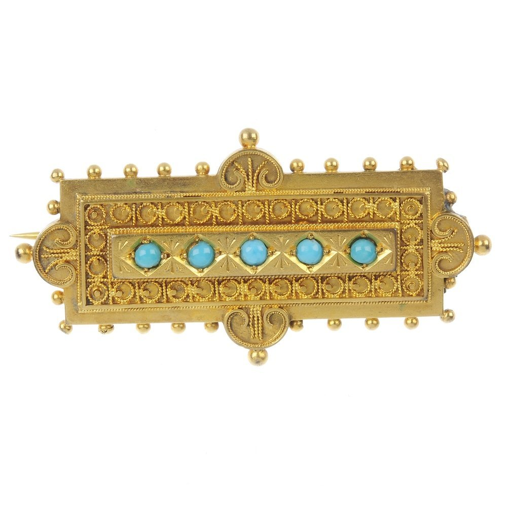 A late 19th century 15ct gold paste brooch.
