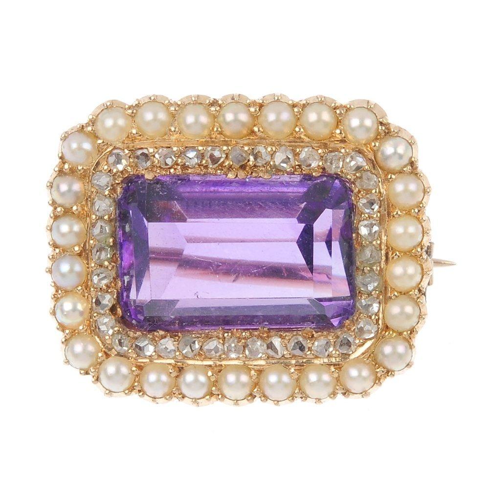 An amethyst, diamond and split pearl cluster brooch.