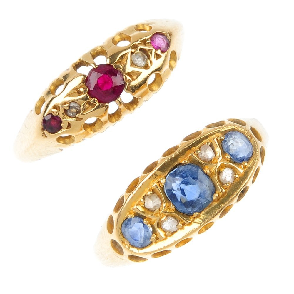 Two early 20th century 18ct gold diamond and gem-set ri