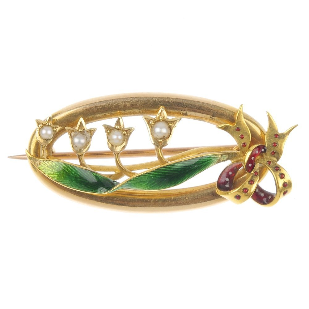 An early 20th century 15ct gold split pearl and enamel