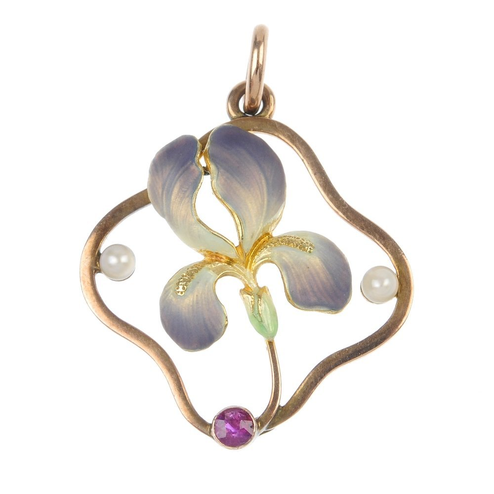 An early 20th century 9ct gold enamel gem-set iris pend
