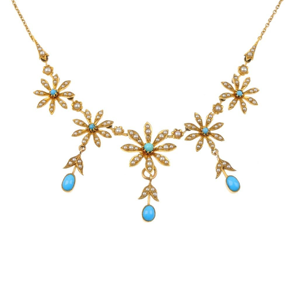 An early 20th century 15ct gold turquoise and split pea