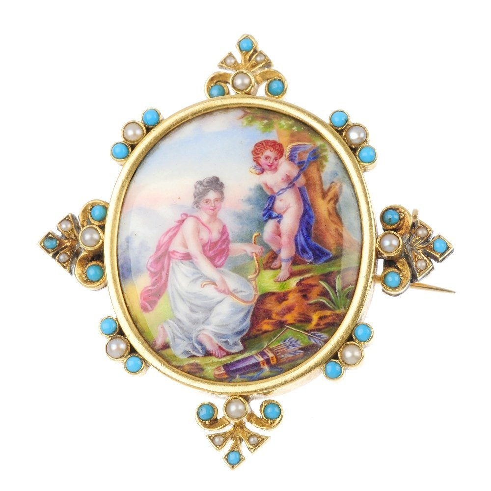 An early 20th century continental enamel and gem-set br