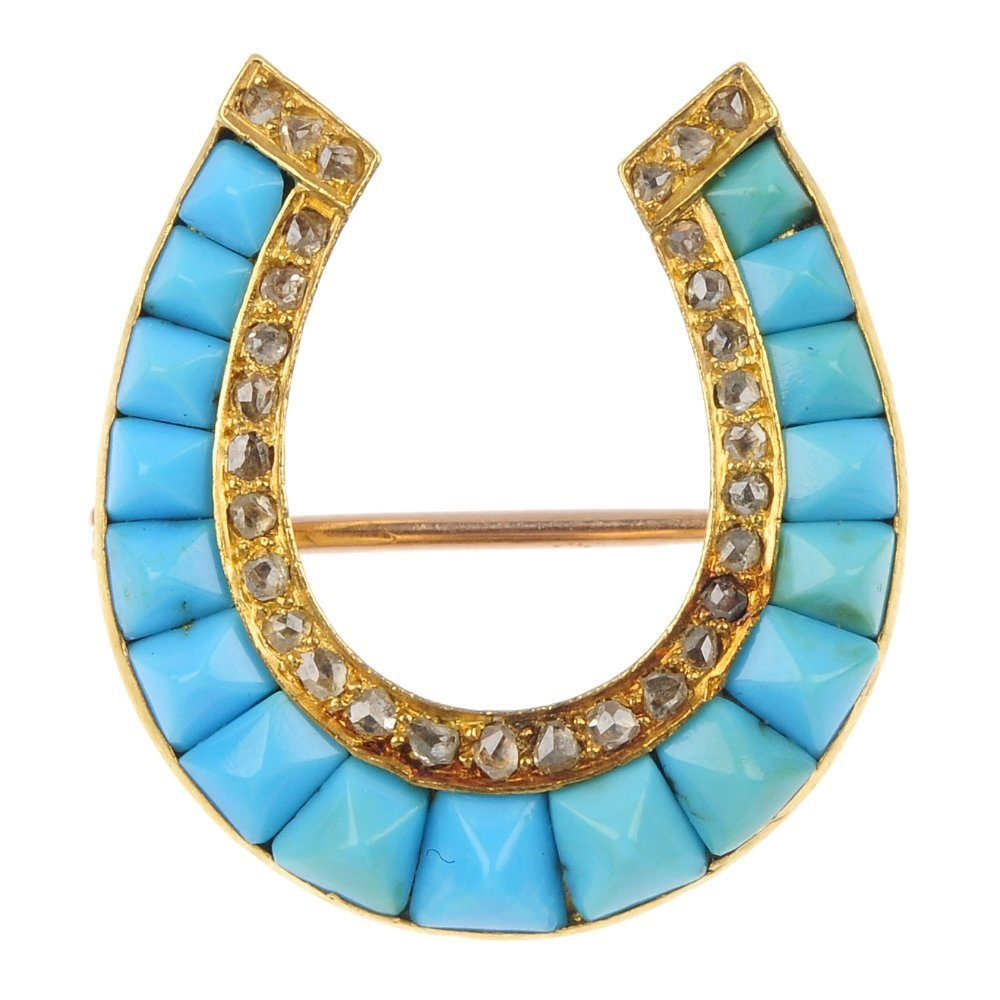 A late 19th century gold turquoise and diamond horsesho