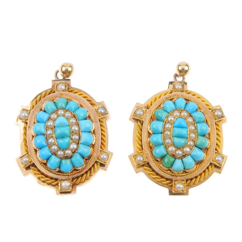 A pair of turquoise and split pearl ear pendants.