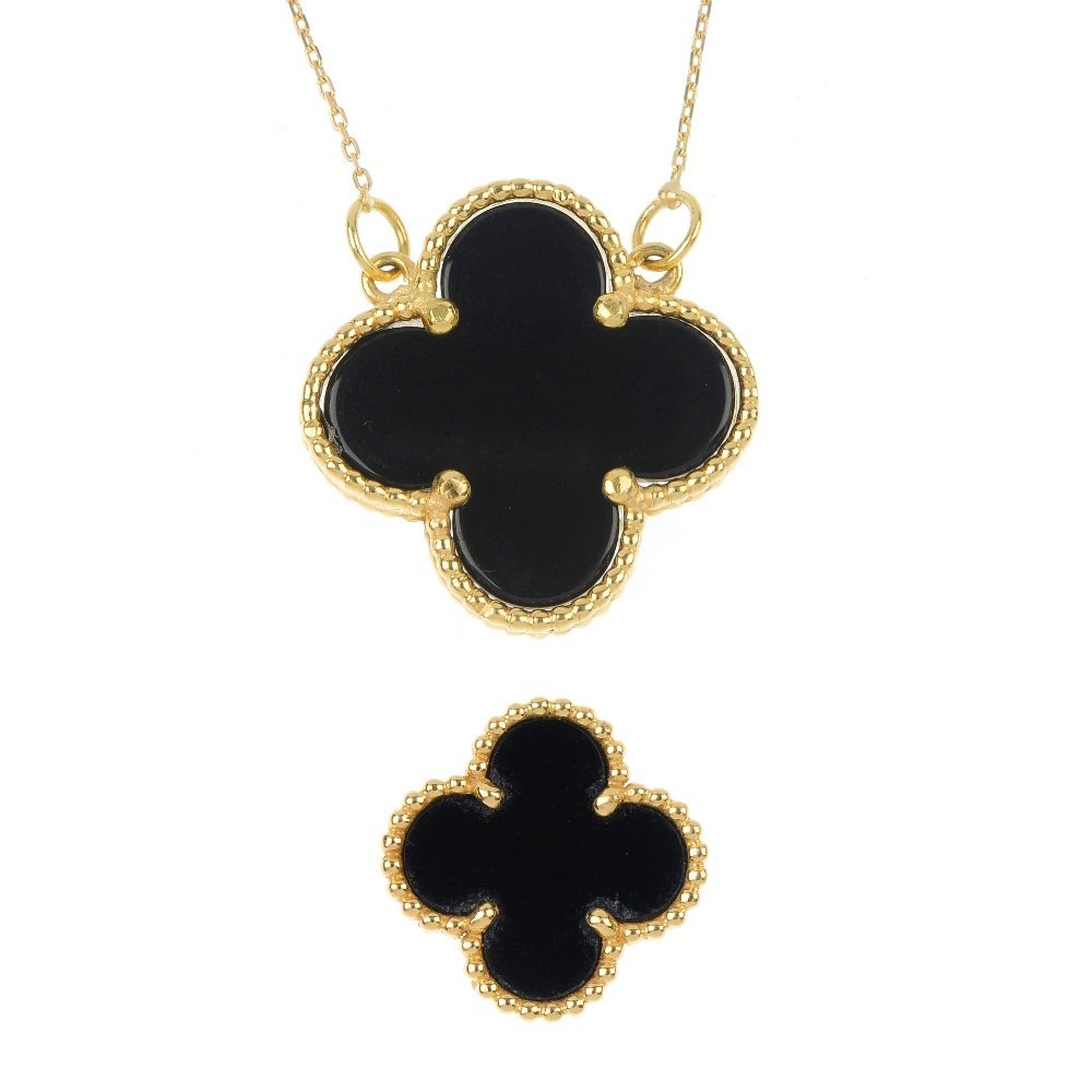 VAN CLEEF & ARPELS - an 'Alhambra' pendant and single e