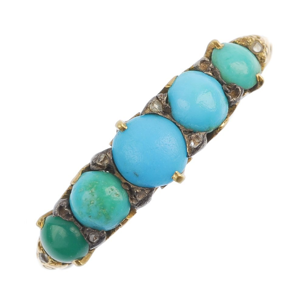A turquoise and diamond ring.