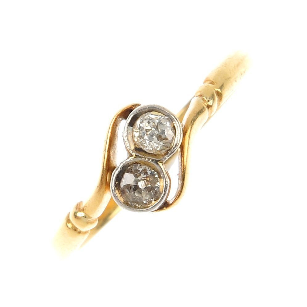 An early 20th century 18ct gold and platinum diamond