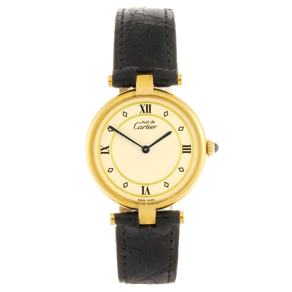 (1102024041) A gold plated quartz Cartier Vermeil wrist