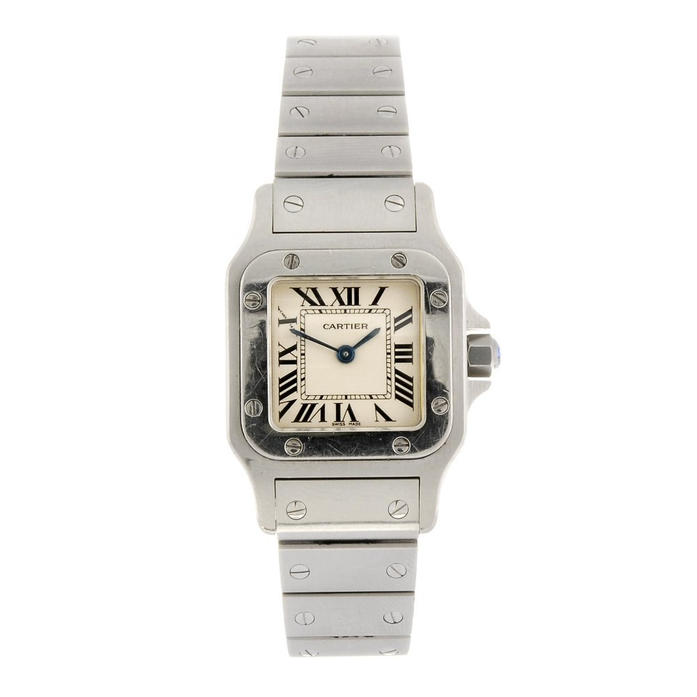 (122771) A stainless steel quartz Cartier Santos bracel