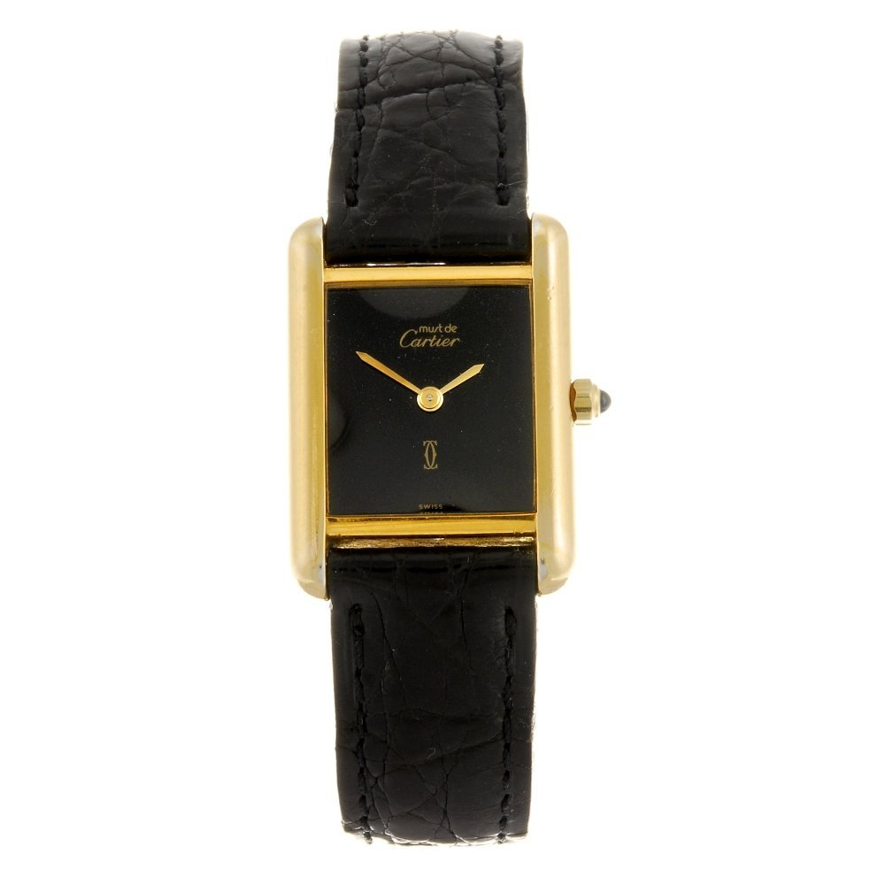 A gold plated silver quartz Must de Cartier wrist watch