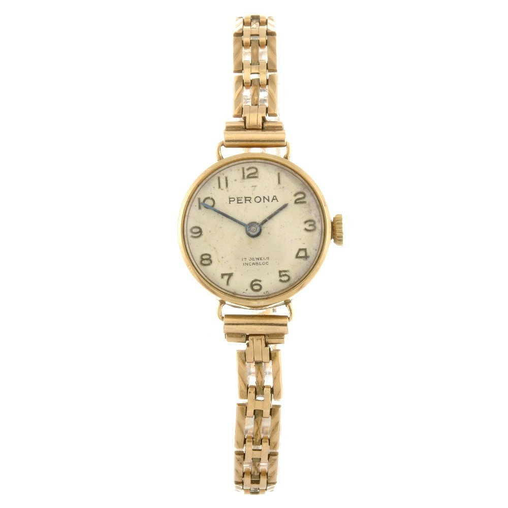 A 9ct gold manual wind lady's Perona bracelet watch.