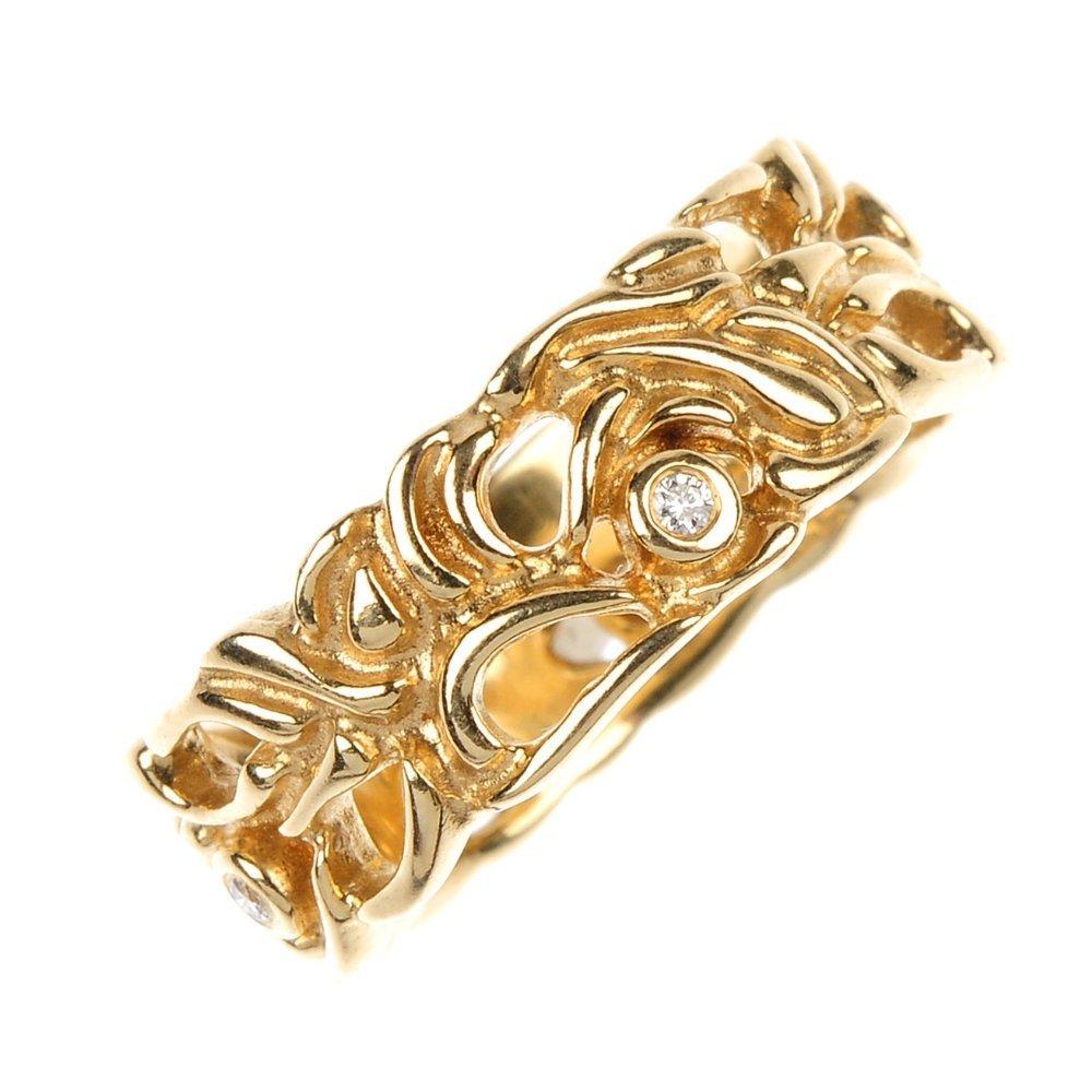 PANDORA - a 14ct gold diamond openwork band ring.