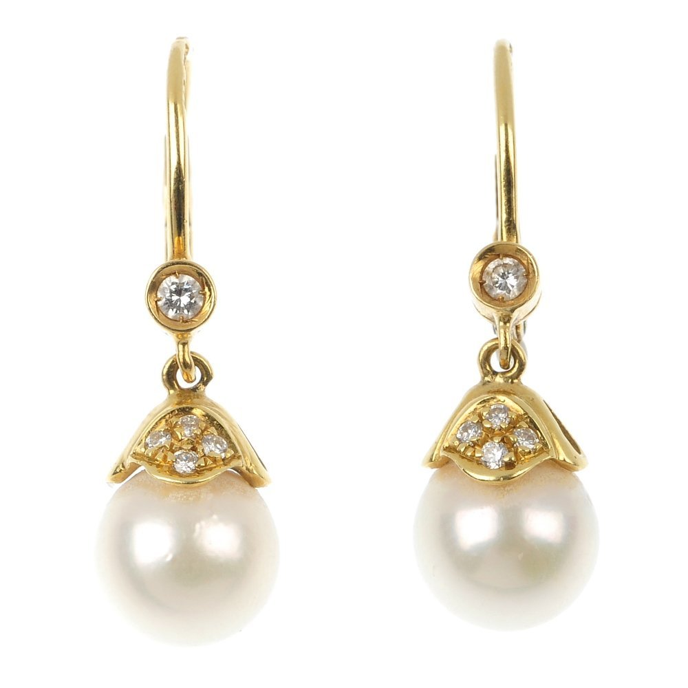 A pair of 18ct gold cultured pearl and diamond ear pend