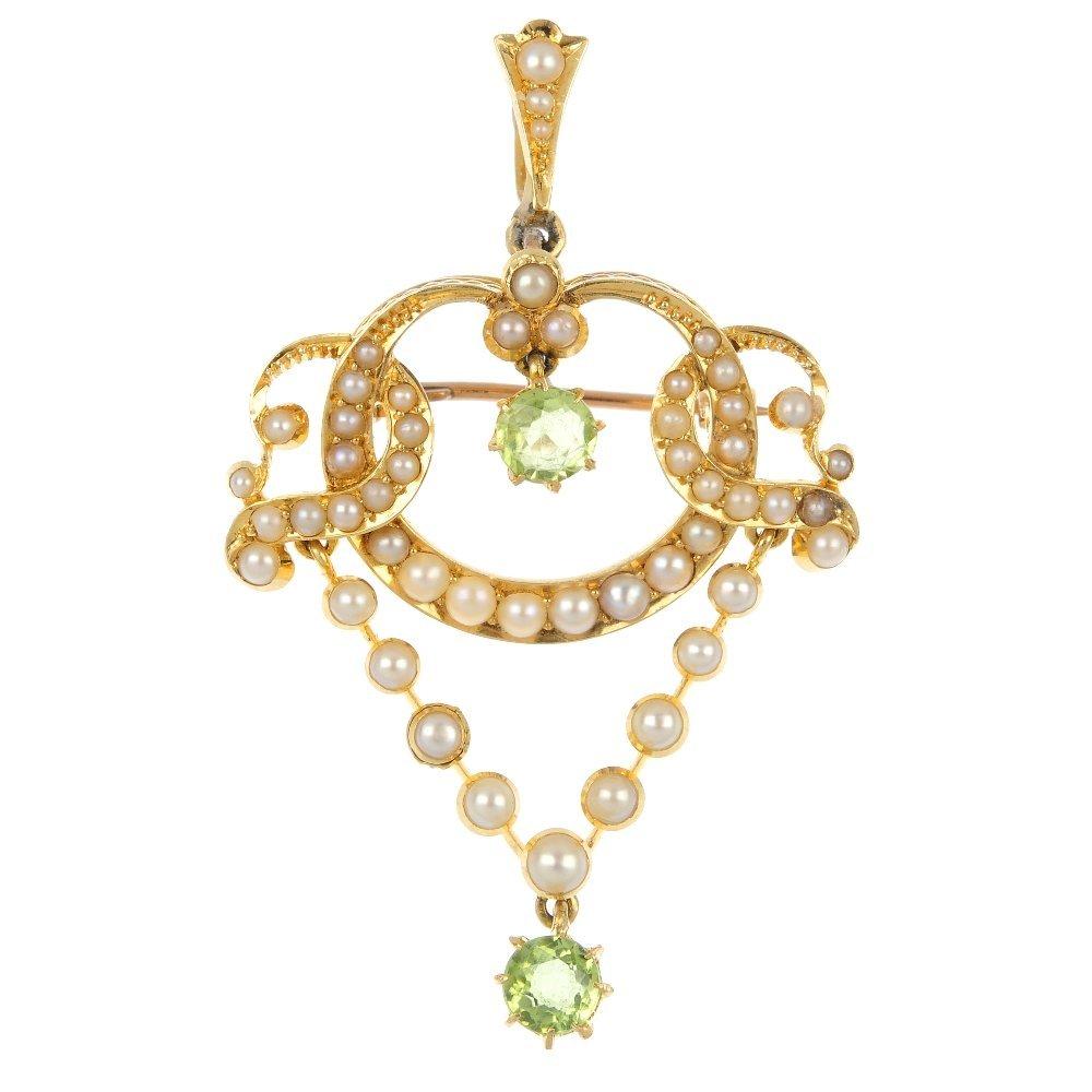 A peridot and split pearl pendant.