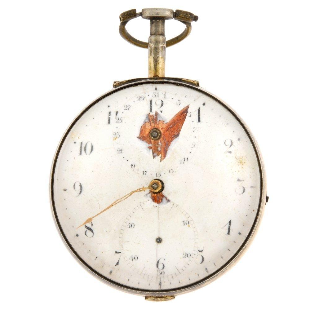A gilt key wind pair case pocket watch with calendar fu
