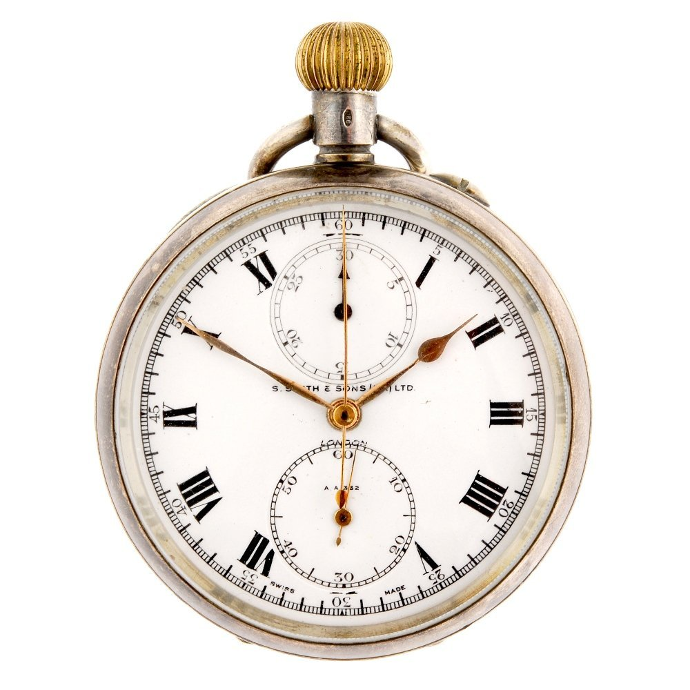 A silver keyless wind open face chronograph S.Smith & S