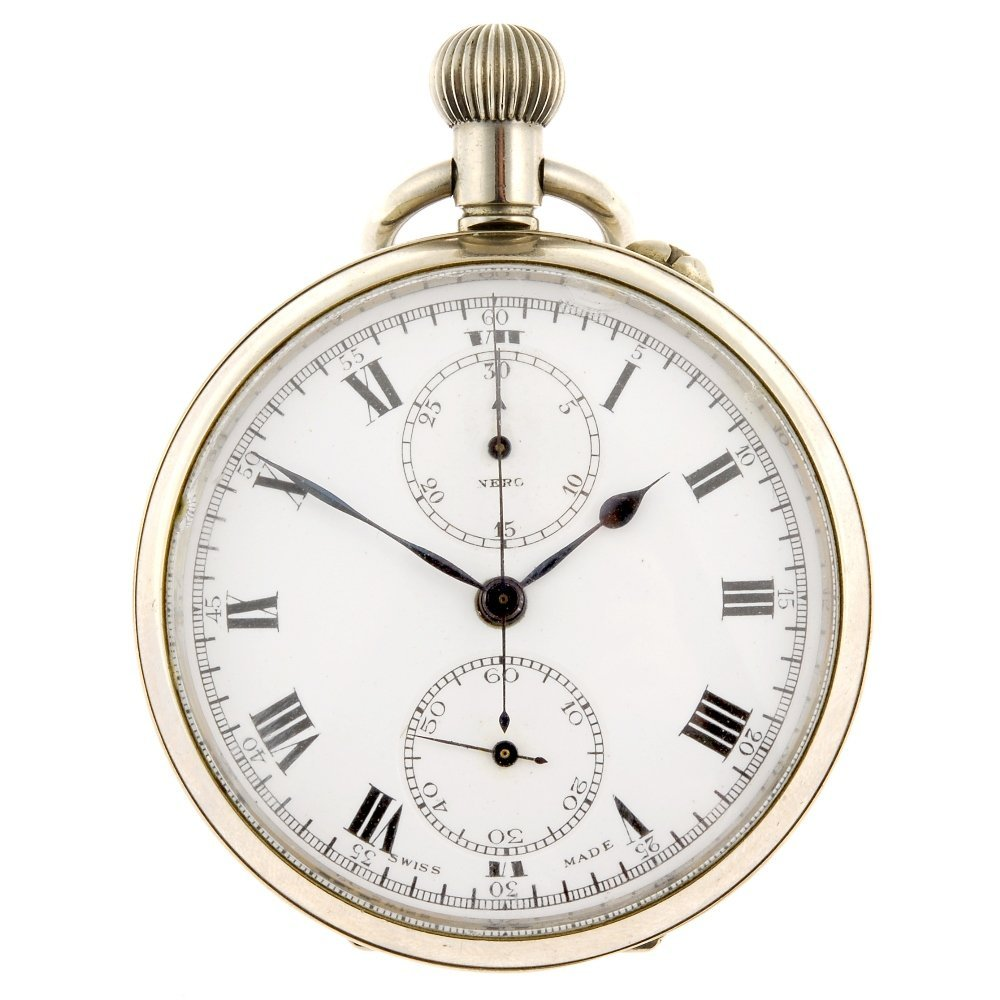 A base metal keyless wind open face chronograph.