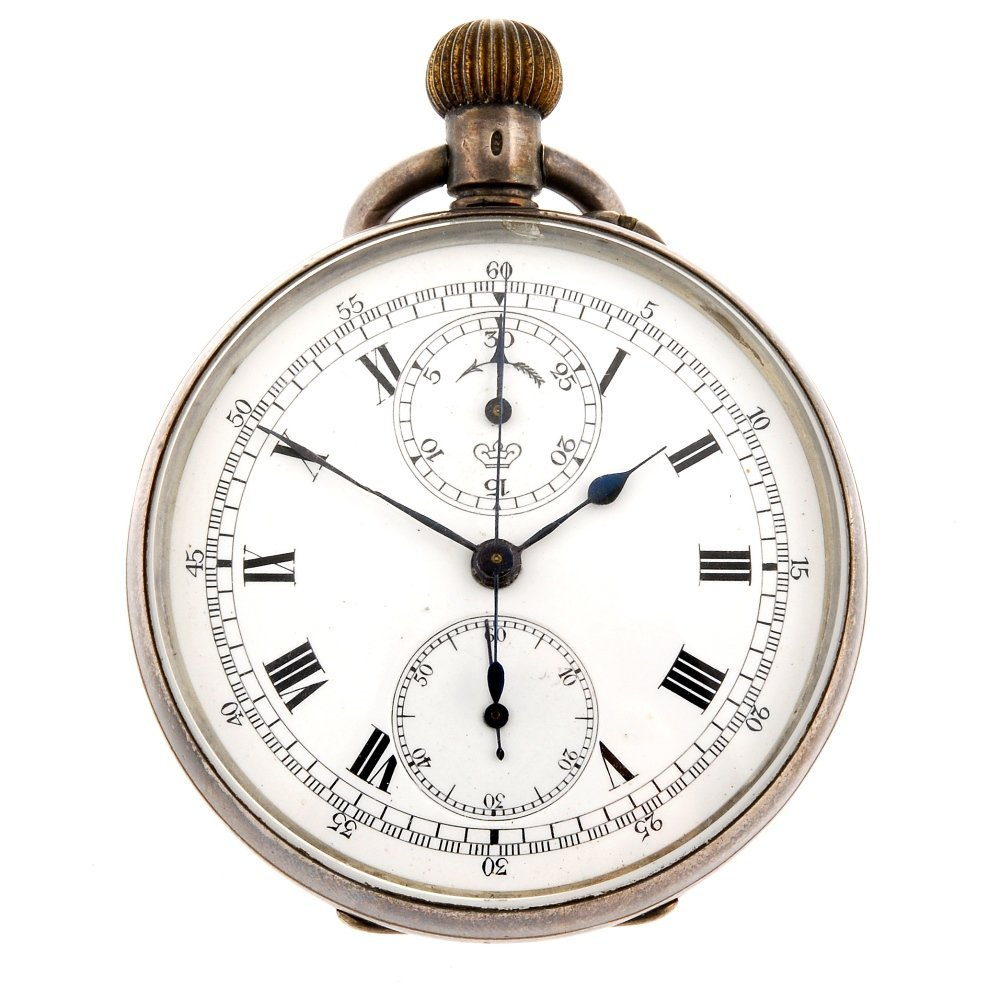 A silver keyless wind open face chronograph.