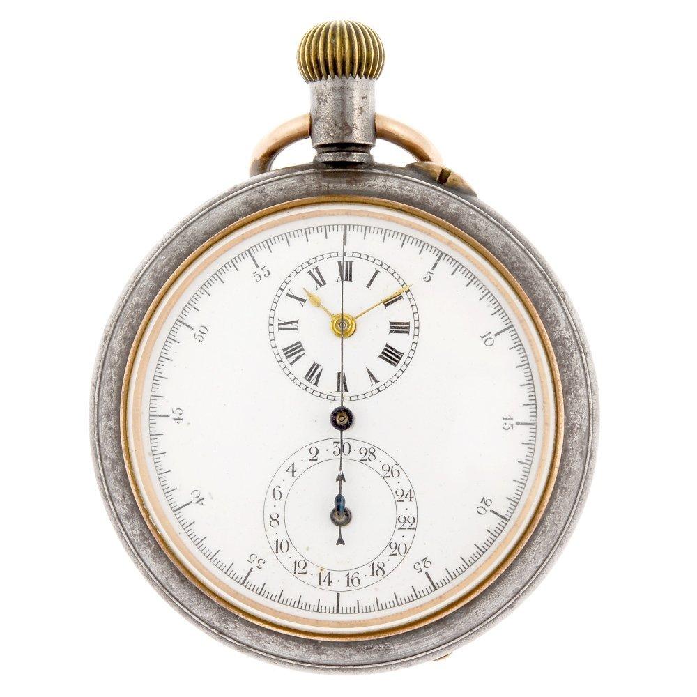 A gun metal keyless wind open face chronograph.