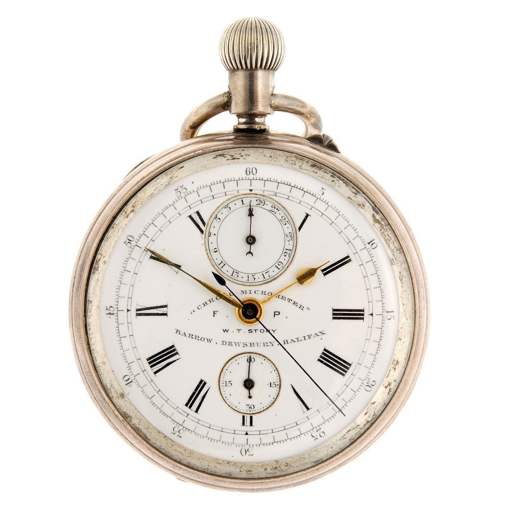 A silver keyless wind open face chronograph by W. T. St