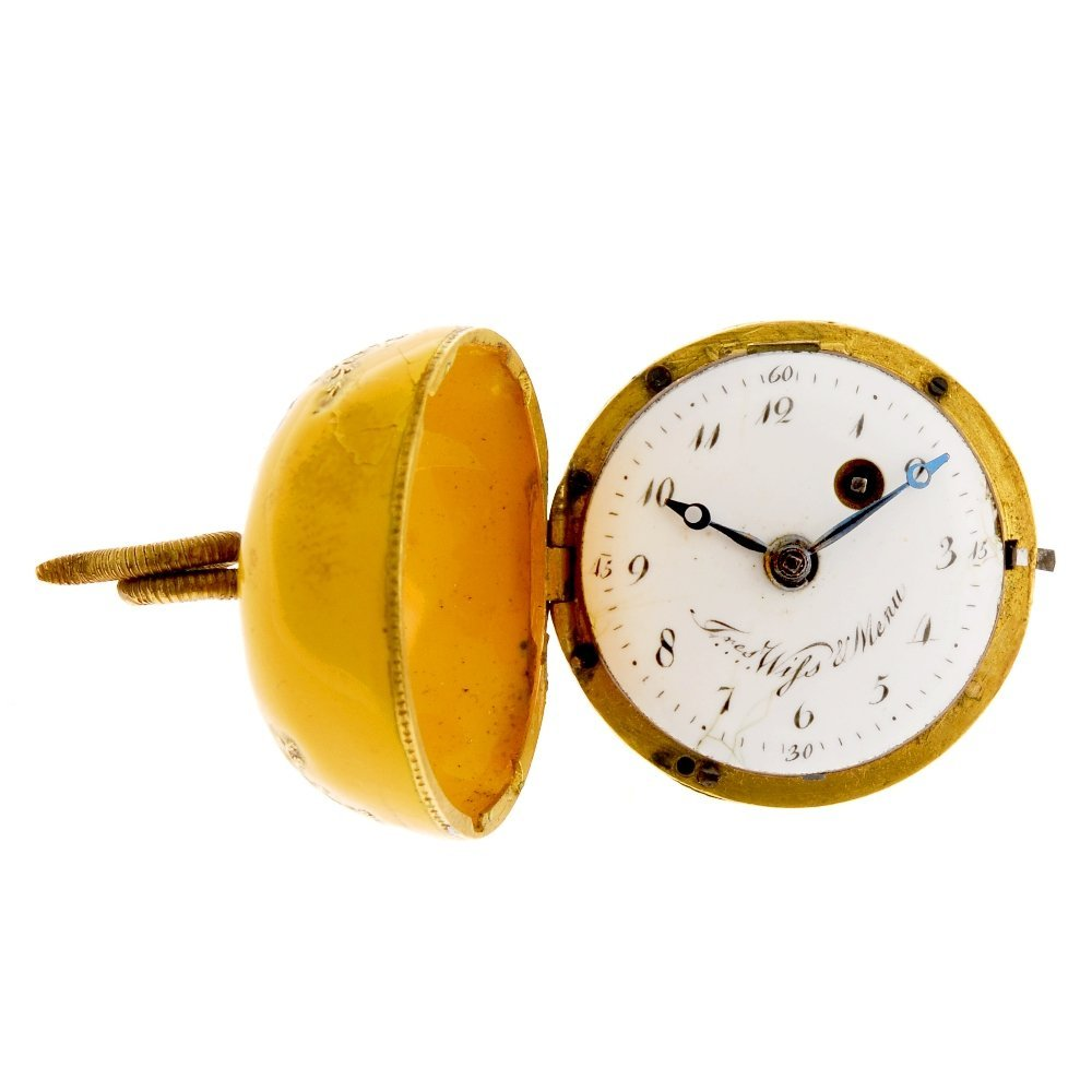 A decorated enamel key wind fob watch in the form of an