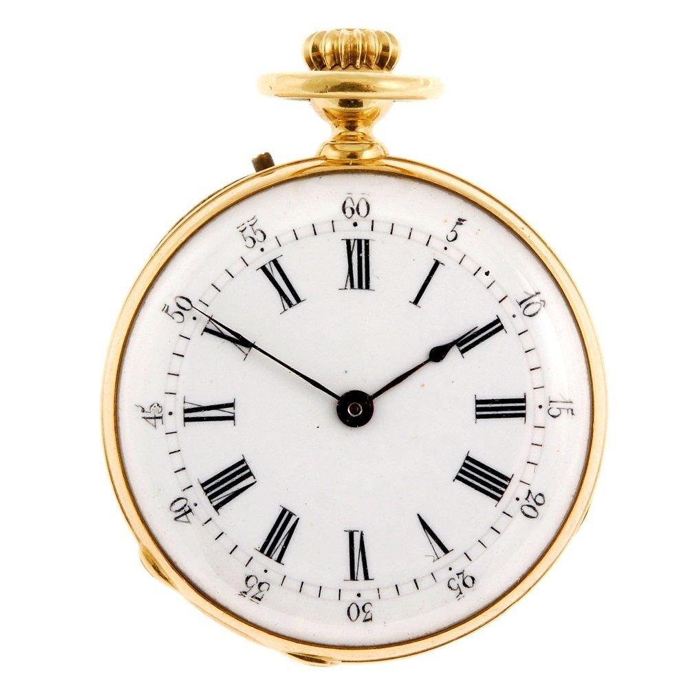 An 18k gold keyless wind open face fob watch by Breguet