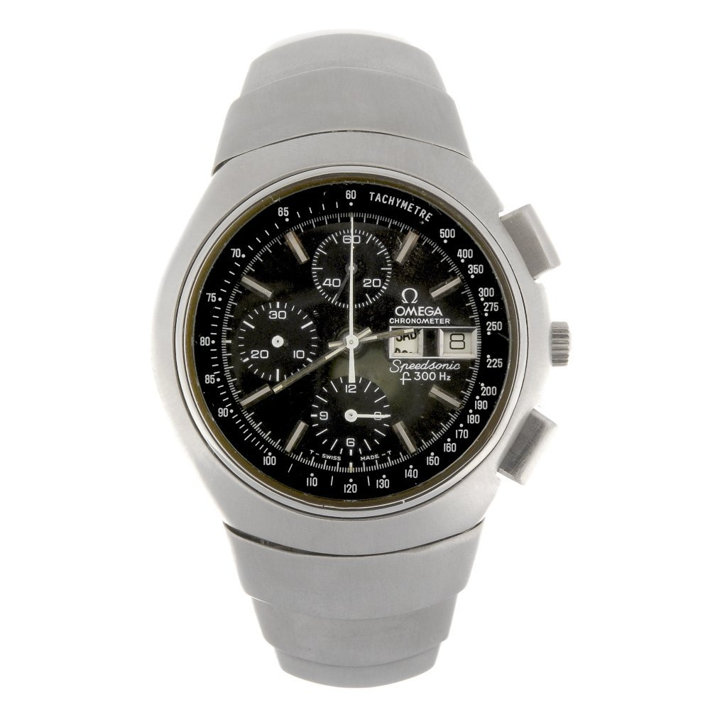 A stainless steel gentleman's Omega Speedsonic watch,