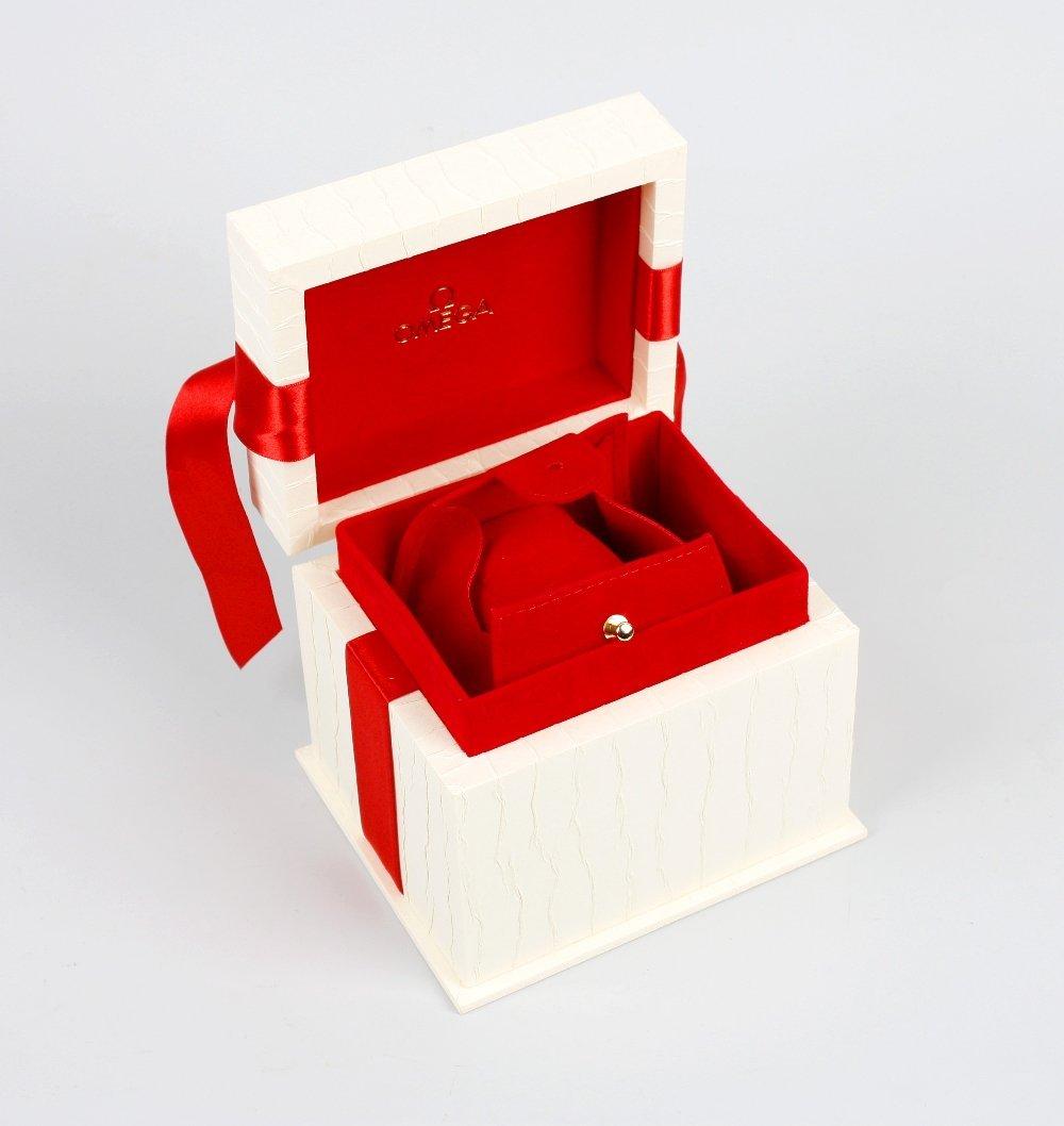 An Omega watch box.