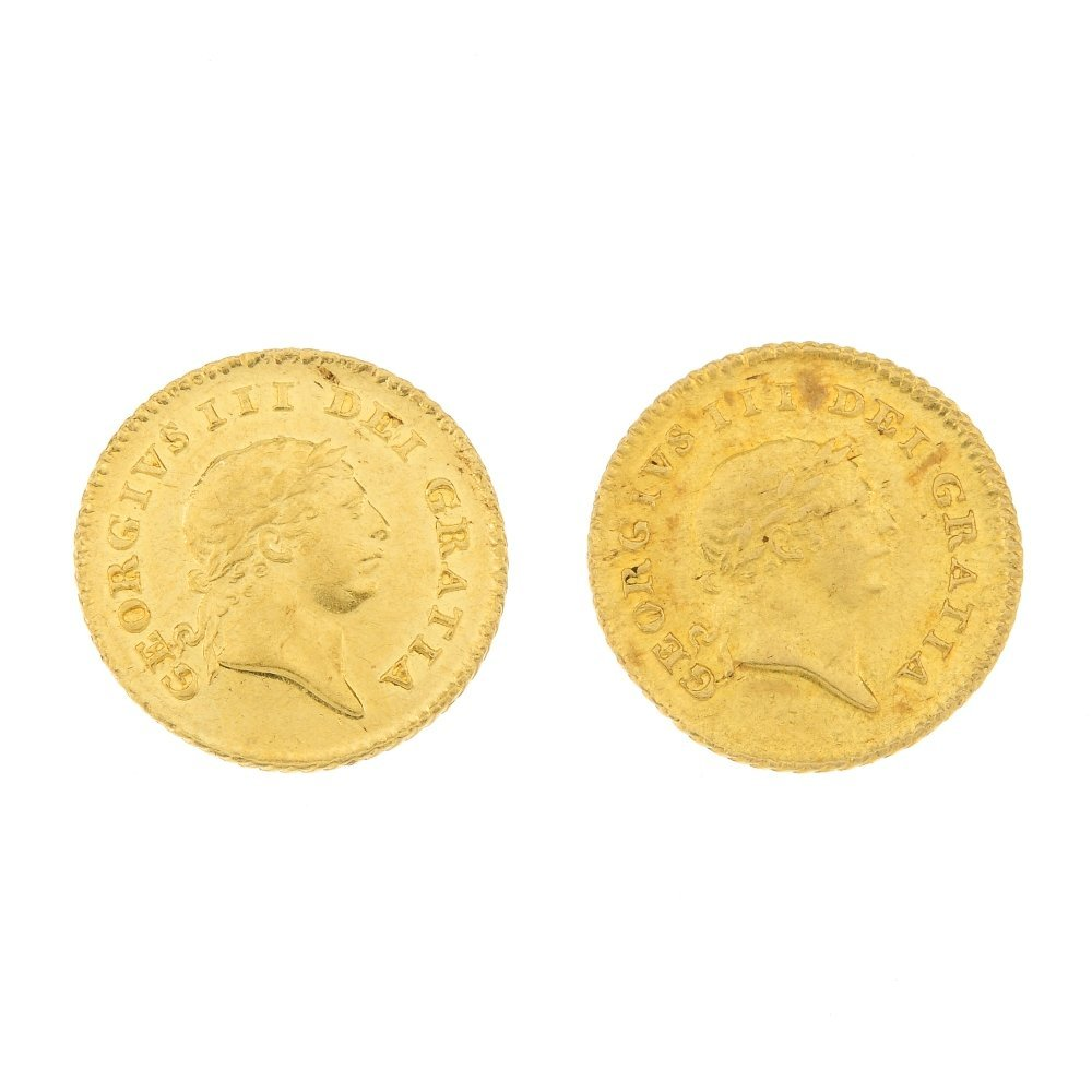 George III, gold Third-Guineas 1810 (2).
