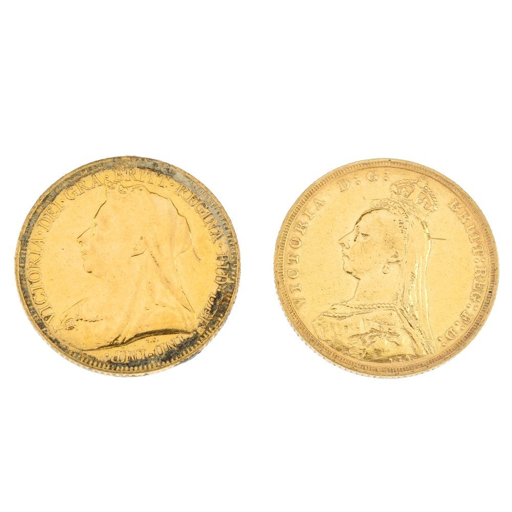 Victoria, Sovereigns (2), 1892S, 1896M.