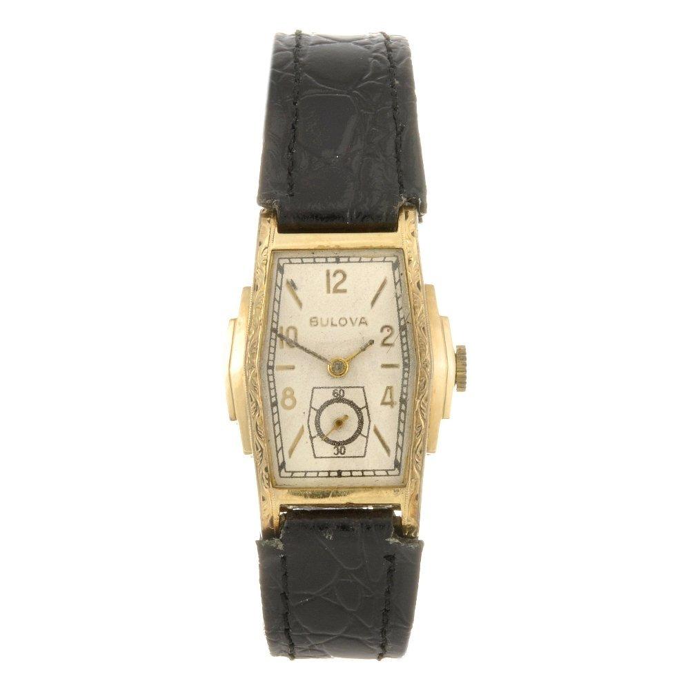 A 10k gold filled manual wind Bulova wrist watch.
