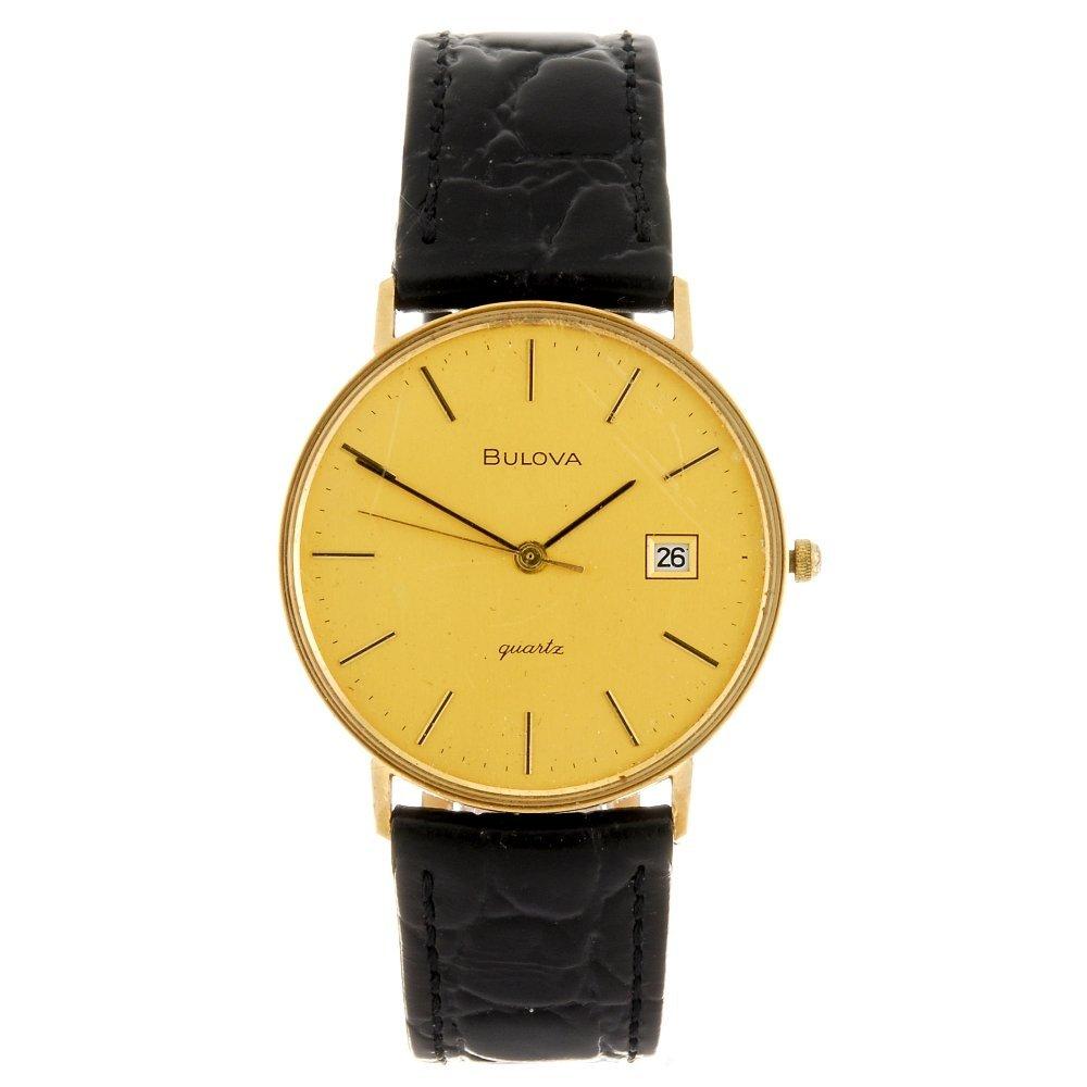A 9ct gold quartz gentleman's Bulova wrist watch.