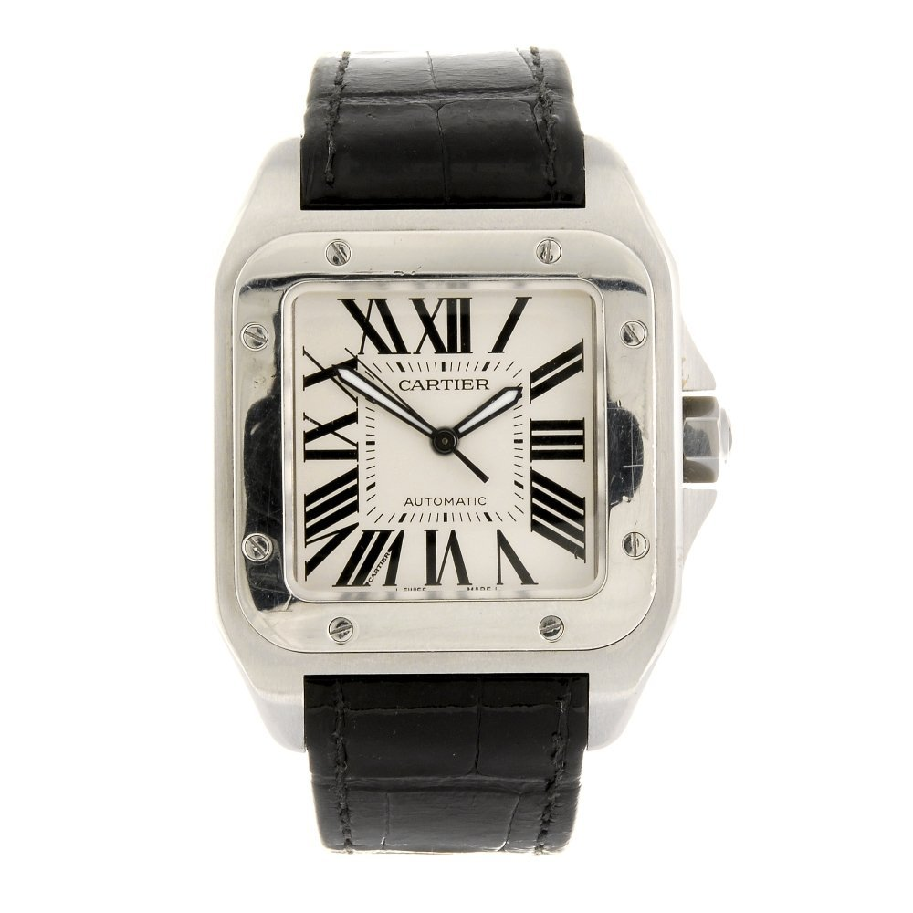(605013883) A stainless steel automatic Cartier Santos