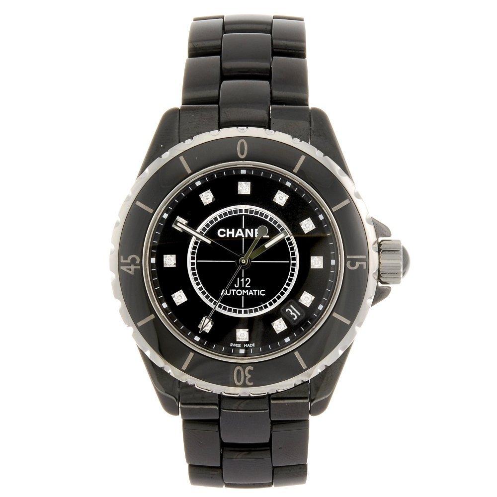 (110625) A ceramic automatic Chanel J12 bracelet watch.
