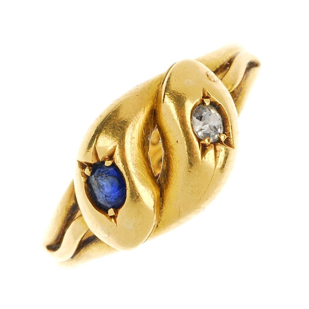 A late 19th century 18ct gold diamond and sapphire