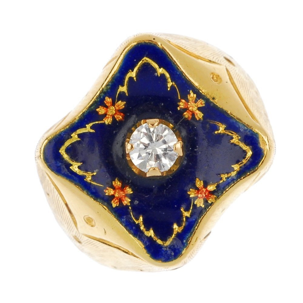 An enamel and diamond ring.
