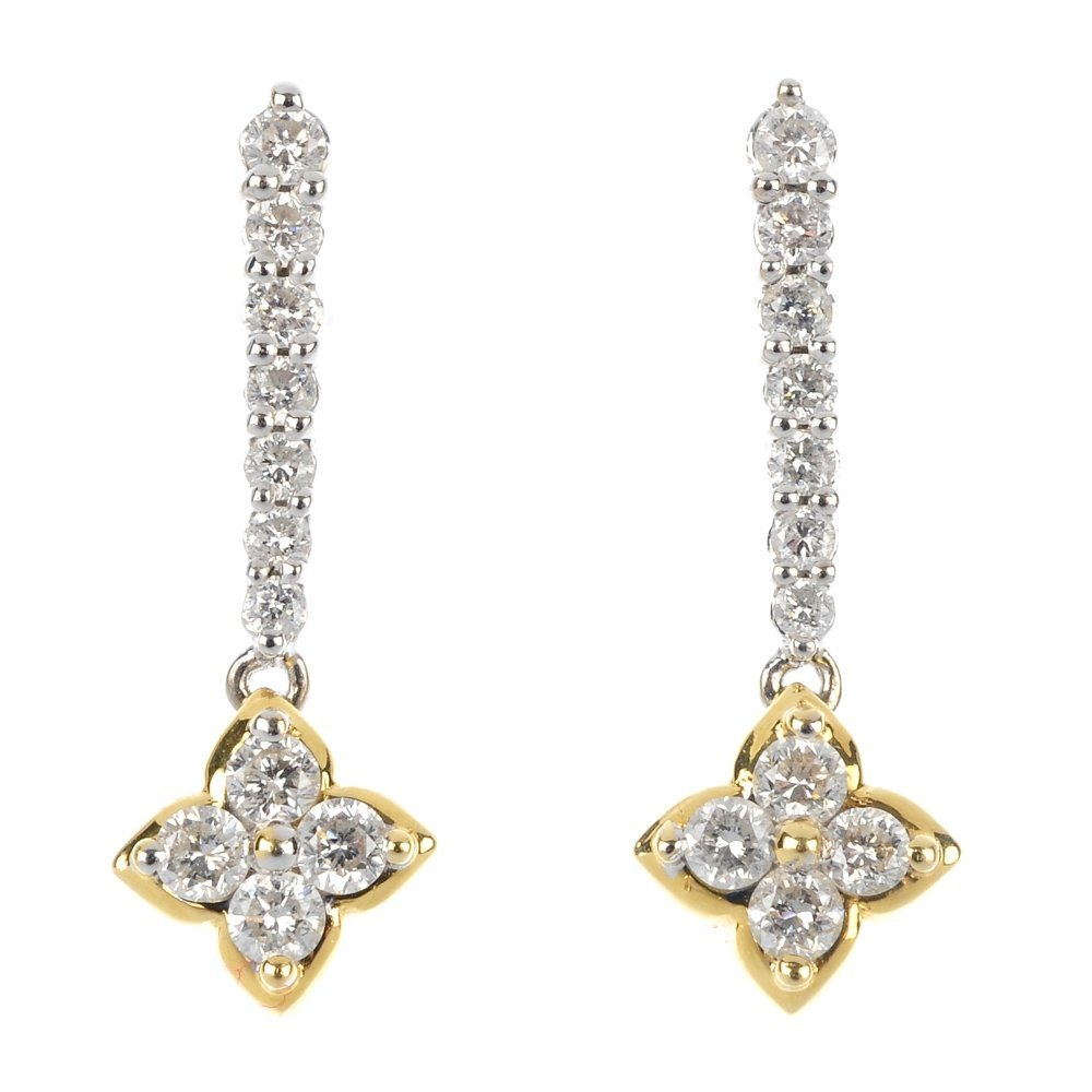 A pair of 18ct gold diamond ear pendants.