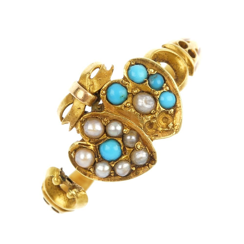 A late Victorian 15ct gold turquoise and split pearl