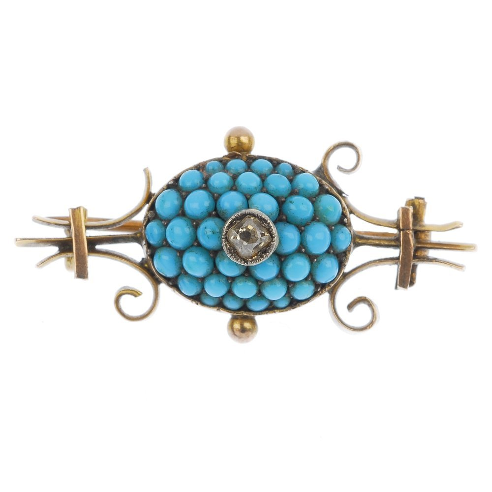 A late Victorian gold turquoise and diamond brooch,