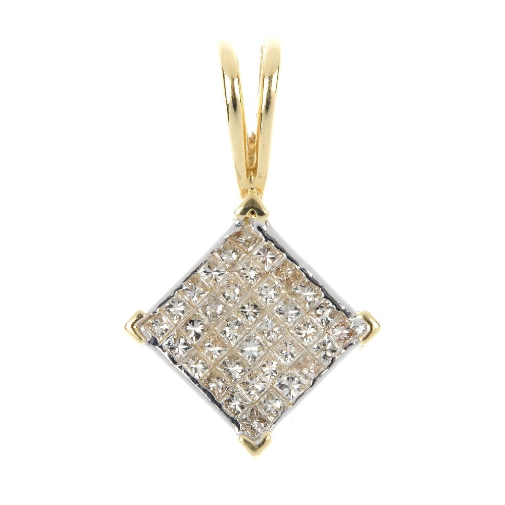 A diamond pendant.