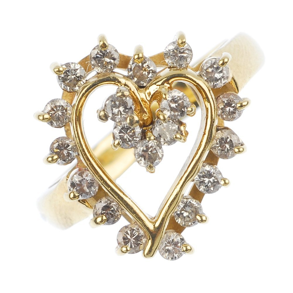 A 14ct gold diamond heart ring.