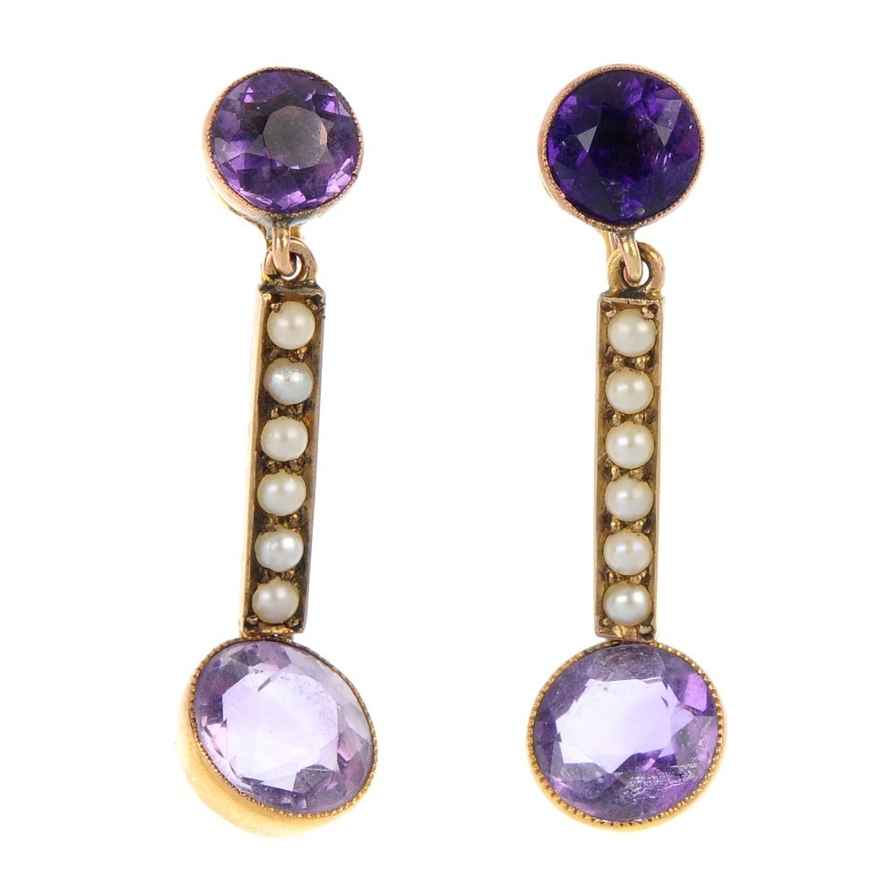 A pair of early 20th century 9ct gold amethyst and