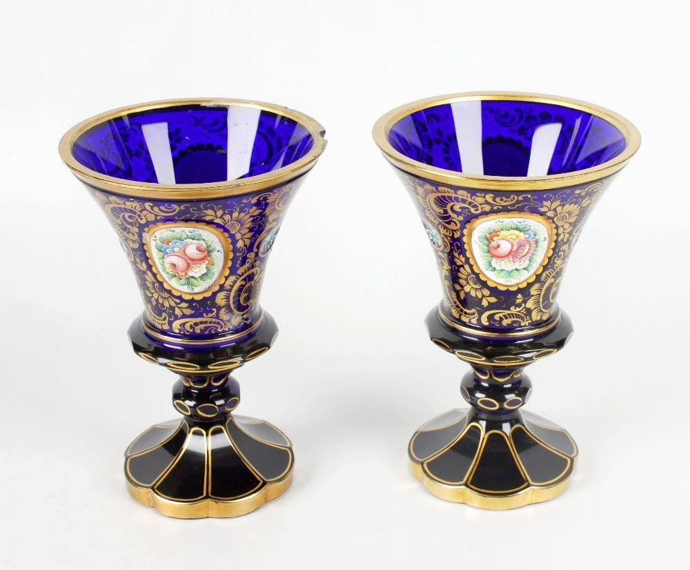 A pair of late 19th century 'Bristol' blue glass vases