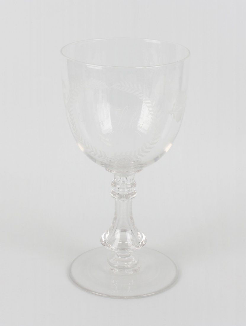 A large Victorian glass commemorative goblet